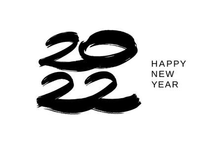 2022 design template for new year black and white. Brush and ink lettering. Ilustracja