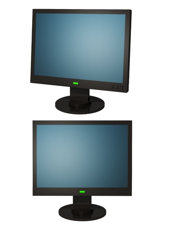 peripherals: Illustration black LCD display with a blue screen.