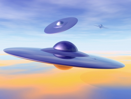 ufo: UFO - alien invasion. 3D-illustration of flying saucers. Stock Photo