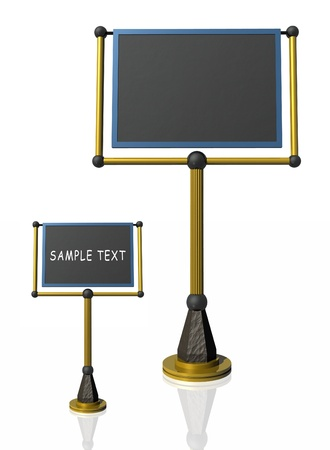 Grey board for writing on the stand. 3d illustration. Stock Photo