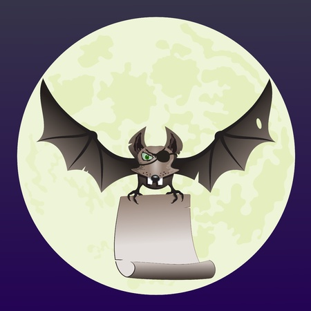 Illustration of a pirate-bat flying. Vector image of a bat against the background of the moon. Vector