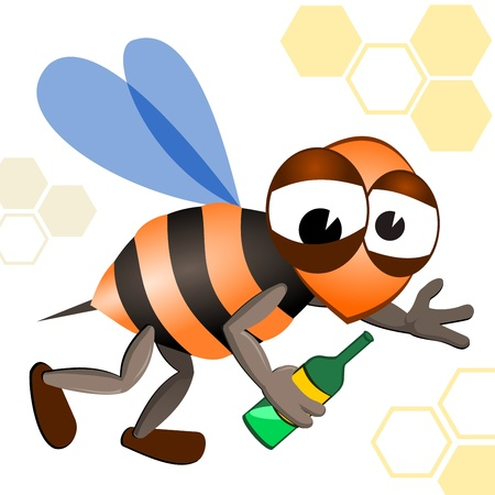 Illustration of a drunken bee with a bottle in his hand. Vector image of yellow bee. Male bee. Stock Vector - 10915559