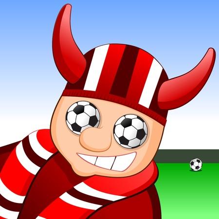Vector illustration of a soccer fan. Eye in the form soccer balls. Stock Vector - 10915555