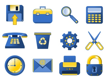 configure: Vector Icons. Blue and yellow stylized icons for your website, application and other design. Illustration