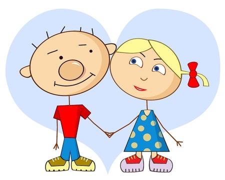 enamorados caricatura: La historieta del amor - arte vectorial ingenuo. Personajes de dibujos animados - un ni�o y una ni�a. Los amantes en el fondo del coraz�n. Vectores