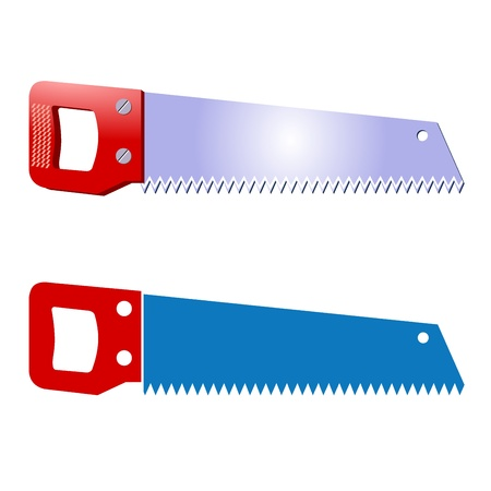 handsaw: Vector saw. Illustration of a blue hand saw with a red handle. Illustration