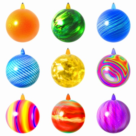 Glass Christmas balls.  Christmas balls for the New Year. 3D-Illustration of New Year tree toys. Stock Photo