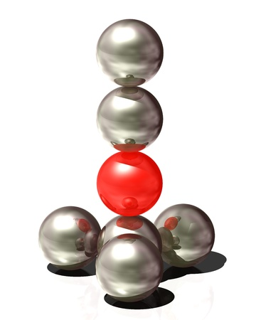 Abstract symbol - spheres.  3D-illustration - the balls are on each other. Symbol of collective, community.
