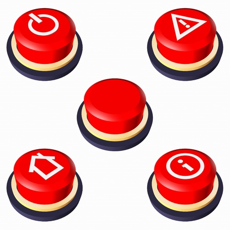 Red buttons with icons.  3D-illustrations red buttons: Empty button. Power button. Button home. Button attention. Button information. Stock Illustration - 10915572