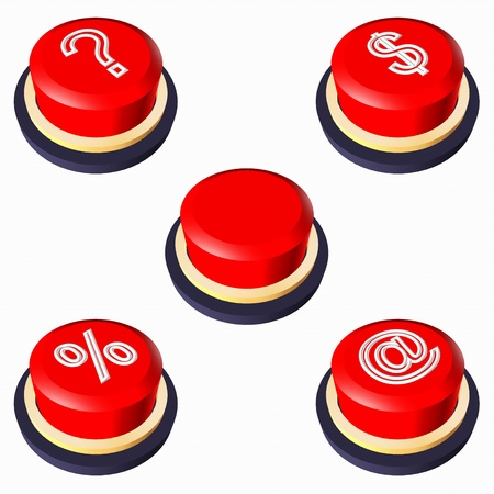 Red buttons.  3D-illustrations red buttons: Empty button. Button question. Button money. Button discounts. Mail button. Stock Illustration - 10915573