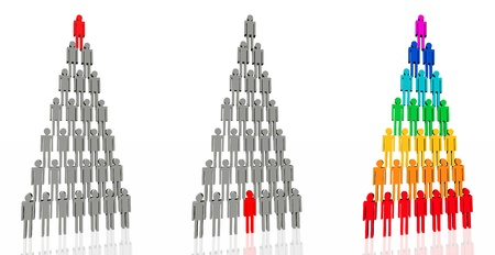 Abstract symbol - the people.  3D-illustration - a pyramid of people. Symbol of collective, community.