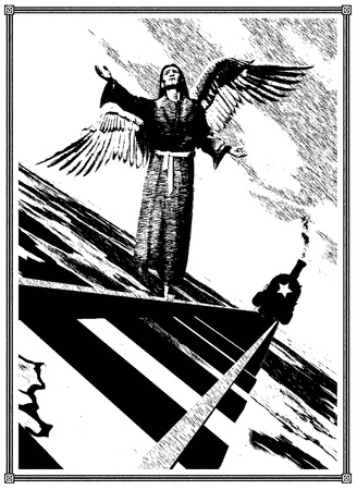 scetch: Allegory of the Red Terror.  Angel on the rails and the locomotive with the star. Black and white illustration. Scetch in the style of the graphics pen.