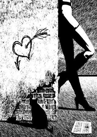 A girl stands near the wall. Black and white illustration. Scetch in the style of the graphics pen. Stock Photo