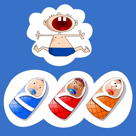 cutie: Cute  babies.  Baby crying with his mouth open wide. Babies in the wraps on white background.