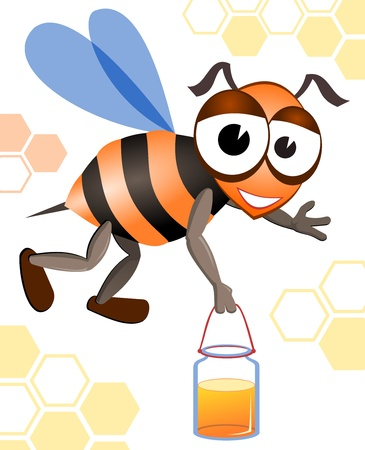 Honey bee.  Illustration of the honeybee. image of yellow bee.  Stock Vector - 10959808