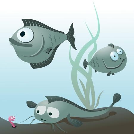 crucian: Cartoon fish.  illustration of a cute cartoon fish.