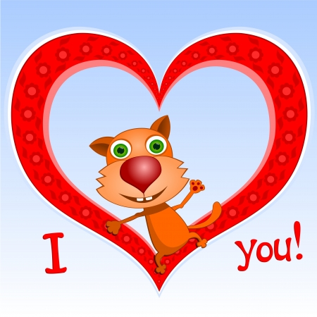 I love you!  Illustration of red cat sitting in a heart. Happy Valentine