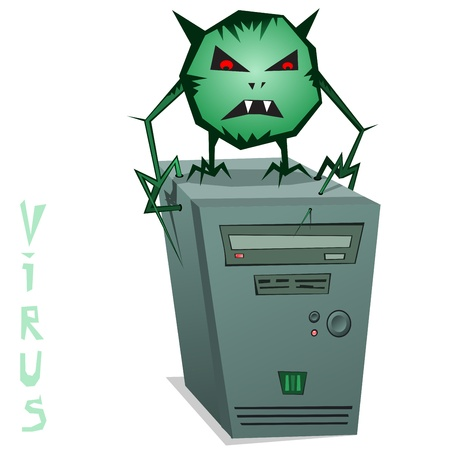 infected: Computer Virus!  illustration of a computer virus. Green computer virus on the system unit.  Illustration