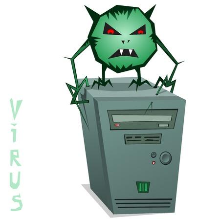 Computer Virus!  illustration of a computer virus. Green computer virus on the system unit.  Vector