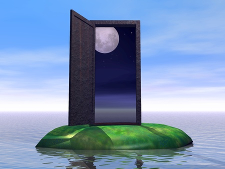 The door on the night. Illustration of the doors on the island. The door to the dream.