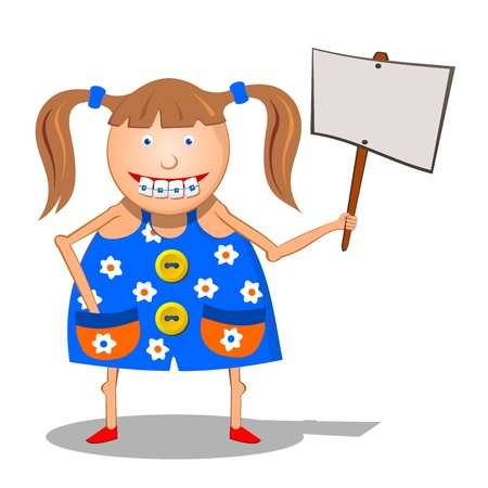 braces: Girl with a sign.  Cartoon characters - girl with a sign. Funny girl with braces. Illustration