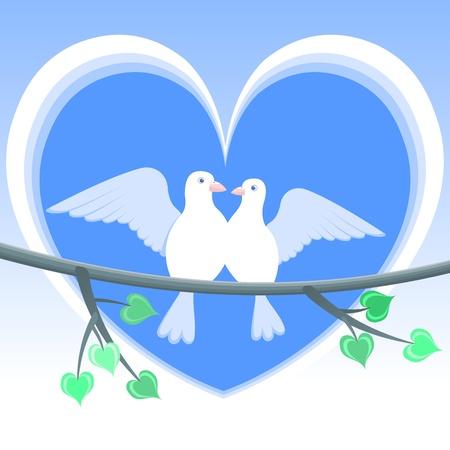 Doves of Love.  illustration - love doves. White doves on a blue heart - Valentine. Illustration
