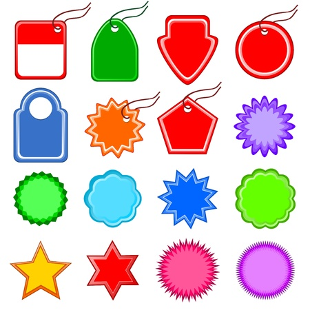 price labels and tags.  templates price tag, sign discounts, labels... Coloured stars, polygons and other shapes.
