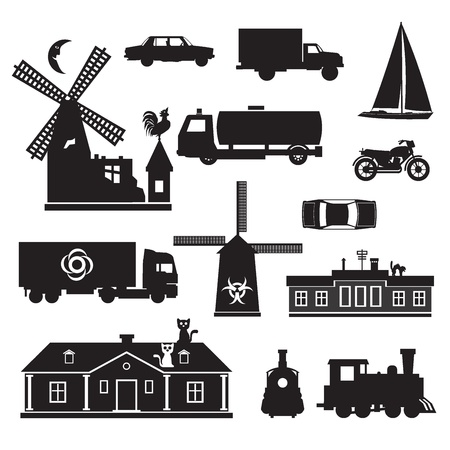 windmill: Silhouette - Miscellaneous. silhouette clip art of transportation and other. Black icons of various objects.