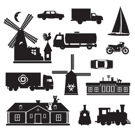 MOLINOS DE VIENTO: Silueta - varios. imágenes prediseñadas de silueta de transporte y otros. Iconos negros de diversos objetos.