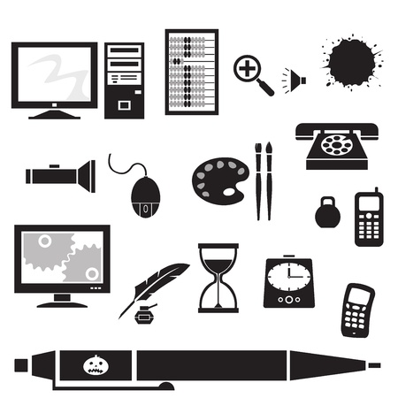 Silhouette - office. silhouette clip art of office supplies. Black icons of various objects.   Illustration