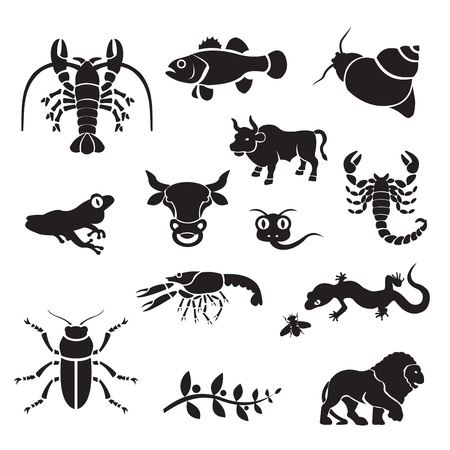 Silhouette - animals. silhouette clip art of animals. Black icons of animals. Ilustração
