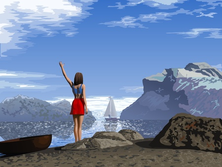 parting the sea: The girl on the shore. illustration. Girl waving the ship sailing.