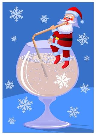 Santa Claus. Santa Claus sitzt auf einem Becher und trinken Champagner. Little Cartoon Santa Claus. Weihnachtskarte.