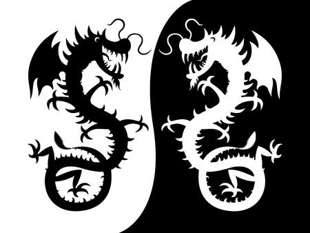 l�zard: Une silhouette d'un dragon. Vector silhouette d'un dragon - noir et blanc.