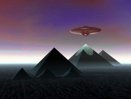 invasion: Pyramid. The Egyptian pyramids. UFO above the pyramids.    Stock Photo