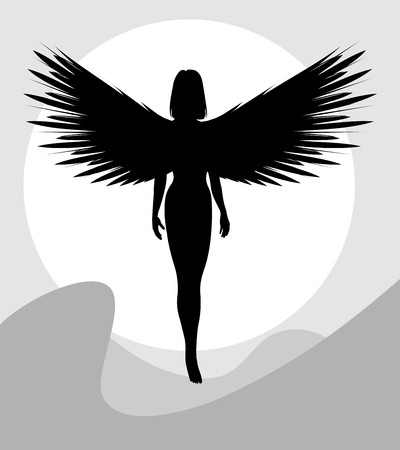Black silhouette of a woman with wings. Grayscale vector illustration.   Vector