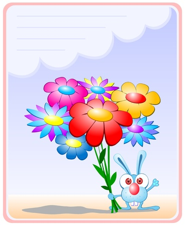 Romantic hare. Micro-rabbit with a bouquet of flowers. Template greeting card.