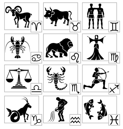 zodiac signs: Zodiac - black silhouettes. Signs of the Zodiac in the form of vector silhouettes. All twelve zodiac signs.