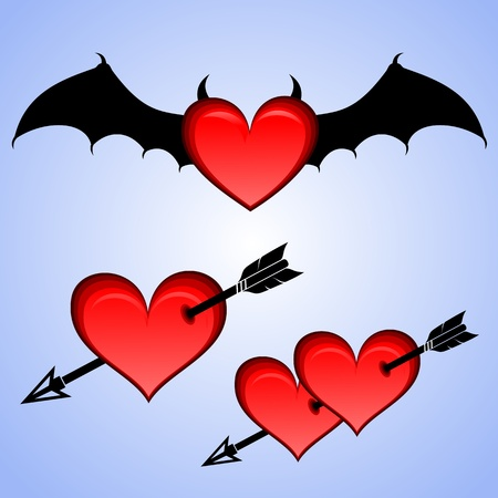 Three versions of the symbol of passion. Red heart with black bat wings. Red heart pierced by an arrow.