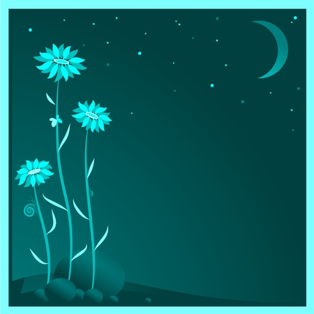 Floral background. The silhouettes of flowers in the moonlight. Vector illustration of beautiful flowers.
