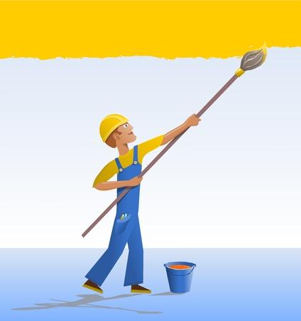 decorando: Caricatura pintor de brocha gorda. El decorador de pinturas de una pared con un cepillo. Dibujos animados - un trabajador con un manto azul.