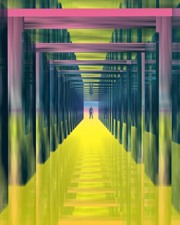 mirrored: Color tunnel. Abstract image - mirrored tunnel with a man in the distance.