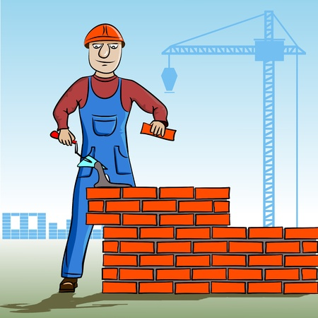 construction worker cartoon: Builder working. Working mason makes laying bricks. In the background, cranes, construction. Cartoon character of the worker.