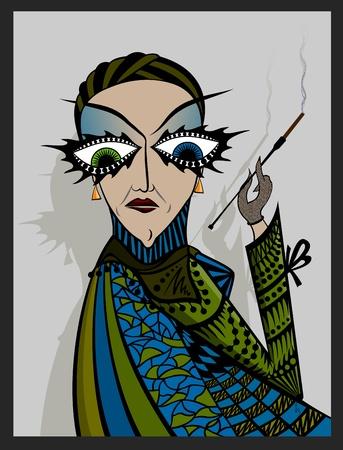 Madame smoker. A strange woman smokes a cigarette. Decadence illustration women in stylish dress.
