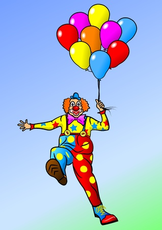 Cheerful clown. Cartoon clown flies on balloons. Vector illustration - a good red-haired clown.   Vector