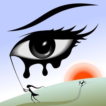 Oog in de lucht. Surrealistisch beeld. Het meisje loopt met het oog-stick in zijn handen. Nadat het meisje loopt een hond. Achter de hond de zon schijnt.
