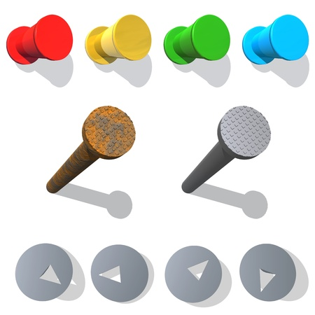 rusty nail: Pushpin and iron nail. Plastic tack - red, yellow, green, blue. Nails construction - Rusty and the new. Metal pushpin.   Stock Photo