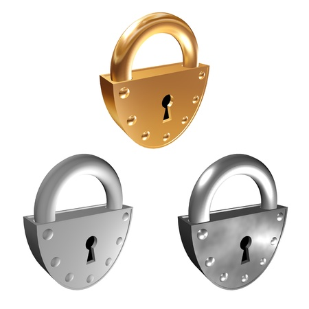silvery: Padlock. 3D illustration - three padlocks: gold, silvery and gray. Isolated object on a white background.