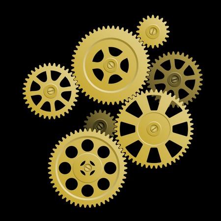 gears: Sistema de engranajes de la ilustración - la conexión de los engranajes de oro sobre fondo negro. Símbolo del trabajo en equipo.