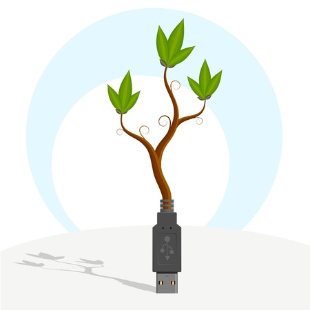 USB-plant. Abstract symbol illustration - green plant growing out of USB-plug. The symbol of technological diffusion.    Illustration